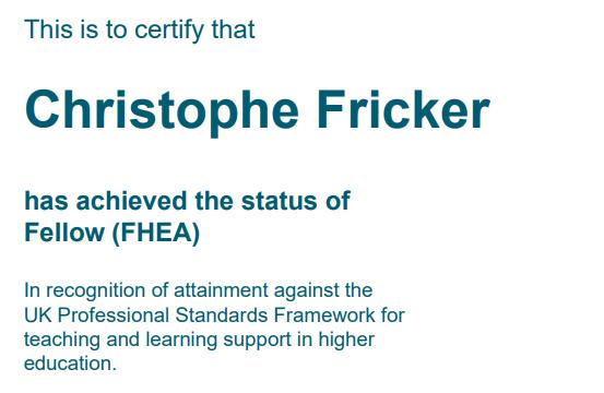 Christophe Fricker Fellow (HEA)