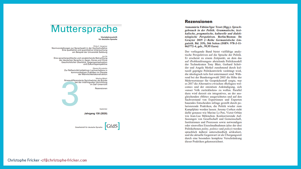 Angela Merkel's language -- political langauge review in German language journal Muttersprache